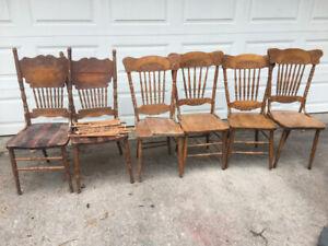 6 antique press back oak chairs