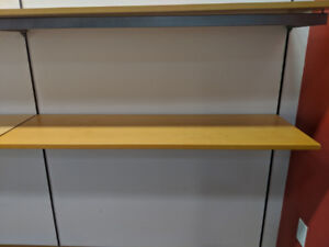 Wooden shelves with metal brackets