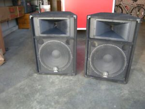 Two Yamaha S115V PA Speakers with Cables, Stands & Bag