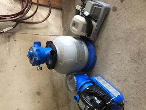 Intex pump and sand filter Krystal clear saltwater system.