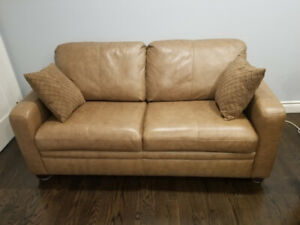 Genuine  Premium  Leather Double Sofabed W/High End Mattress New