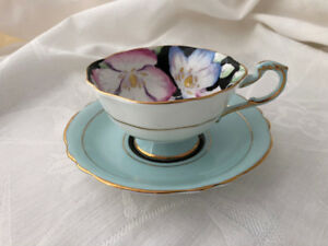 SOLD - Vintage Queen Mary Paragon Footed Black Cup & Saucer