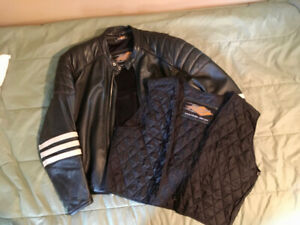Mens Large Leather Power Trip Motorcycle Jacket with Zip Out Lin