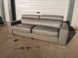 Grey 3 seater leather sofa bed 🚚