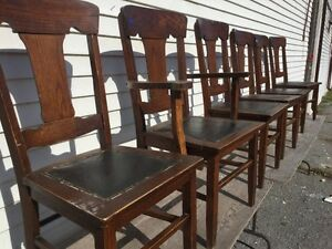 Set of six oak dining room chairs, need some work, $60