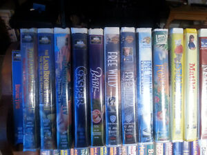 VHS kids movies and VHS and DVD adult movies