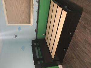 Double bed with bookshelf headboard