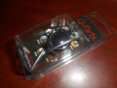 NEW Q-Parts Dome Guitar Knob - BLACK CATSEYE ON CHROME, KCD-0080