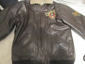 Brown leather -look Flight Sqaud jacket- Boys size 8