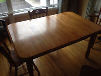 Solid Maple Dining room table and 4 chairs