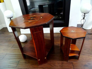 MOROCCAN inlaid tables BONE MAHOGANY vintage antique OCTAGON