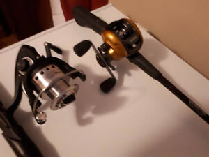 FOR SALE BAITCASTER WITH ROD $50 OPEN FACE WITH ROD $35
