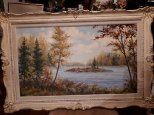 Lovely oil painting of country fall scene