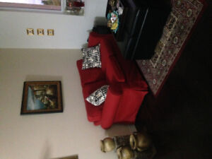 Red love seat excellent condition