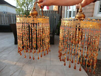 Pair Of Orange Beaded Moroccan Style Wall Mount Chandelier Lamps