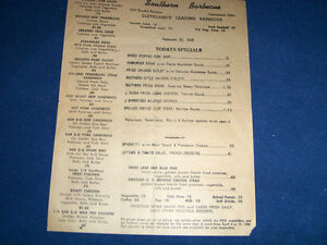 1946 RESTAURANT MENU-SOUTHERN BARBECUE-CLEVELAND-OHIO