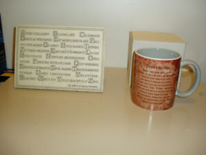 Footsteps mug / Abc's of Aging Plaque New