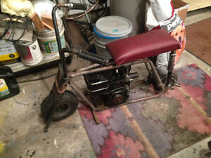 Old Mini bike frame and rear axle  with motor