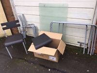 BLACK SILVER GLADD TABLE AND 4 CHAIRS ** FREE DELIVERY AVAILABLE **