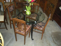 Wrought Iron Framed & Round Glass Table & 4 Chairs