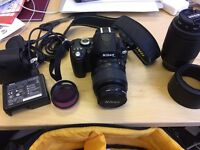 Nikon D60 DSLR amazing condition with long lens and all extras and carry bag