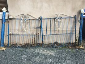 Wrought iron gates and posts