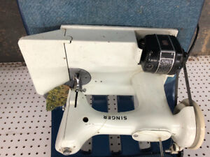 Vintage Rare White Singer FeatherWeight Sewing Machine for sale