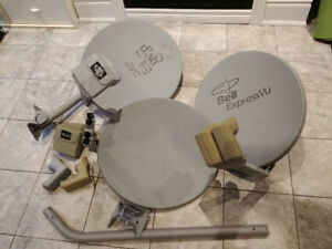 3 expressvu/dishnet satellite dishes plus mounts and accessories