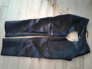 Leather chaps and vest