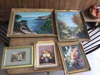 Job lot 5 vintage gold frames antique £30 the lot