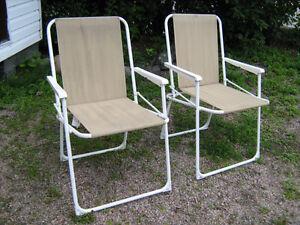 2 chaise de parterre pliable pliante en métal terasse fauteuil