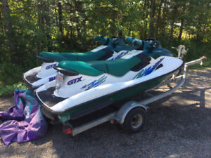 Pair of Bombardier Sea-Doo complete with dual trailer