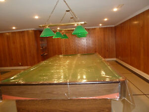Snooker table+Green pool Lamps