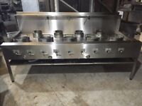 HEAVY DUTY, CE Marked, Stainless Steel Wok Cooker 9 Burners (5 front burners & 4 rear burners)