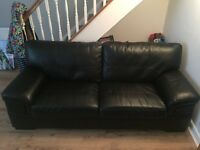 REAL LEATHER SOFA and SINGLE REAL LETHER CHAIR