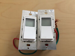 24 hour 7 day in-wall Leviton light timer control switches x2