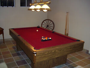 """4x8 Pool Table, 3x3/4"""" Slate pc, light, balls, cues, cue stand"""