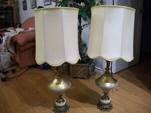 pair of table light with meatal and granite base