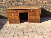 Large Old Captain's Kneehole Oak Desk - Can Deliver