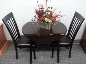 New Small Dark Chocolate Brown Drop Leaf Table With Two Chairs