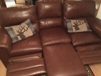 Brown Faux Leather Reclining Sofa with matching footstall