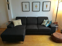 Sofa sectionnel - Tissu gris anthracite!