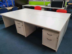 second hand white desk and pedestal drawers bundle deal, nearly new