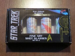 Brand New In Box Set of 4 Star Trek Fine Art Shot Glasses
