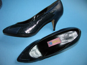 Brand New Navy Blue Leather Shoes for Ladies