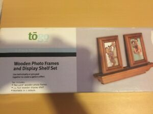Wooden photo frames with shelf