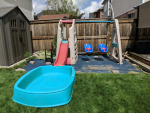 Kids swing set with pool