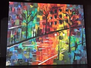 Art: acrylic canvas painting: abstract street
