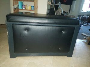 LARGE SHOE CHEST, LEATHER&WOOD, GREAT SHAPE