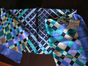 ECHO 100% silk NEW scarf - made in Korea